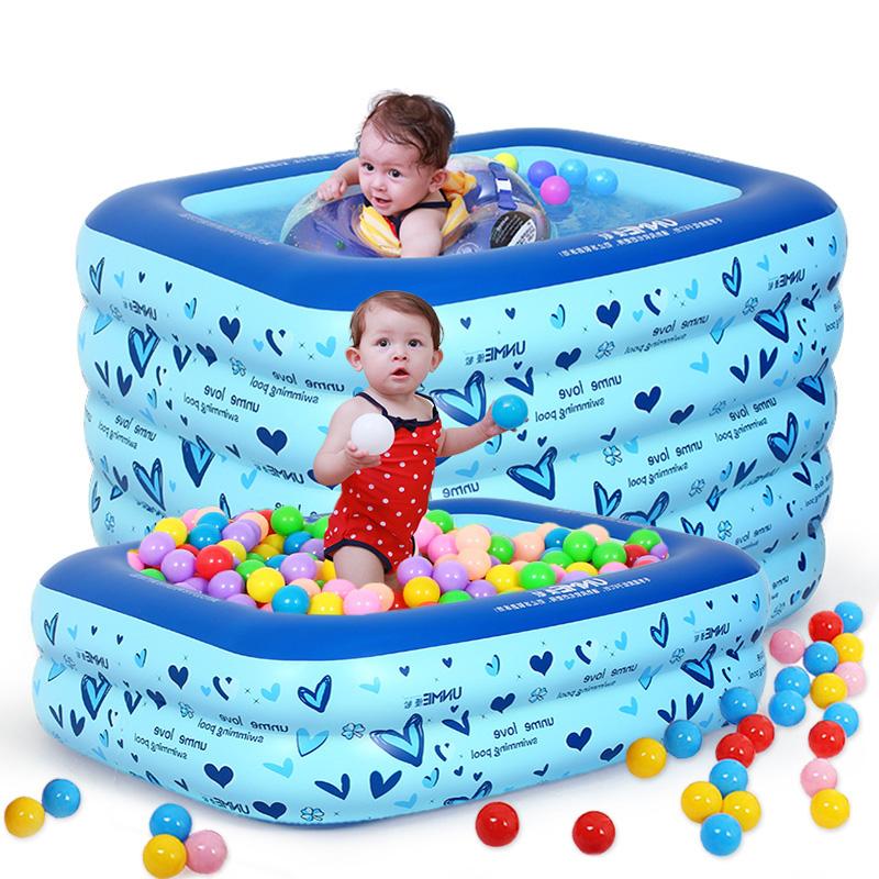 嬰兒遊泳池充氣加厚方家用小孩新生幼兒童寶寶遊泳桶戲水海洋球池