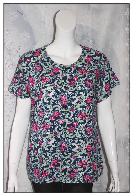 天天特价中老年纯棉短袖T恤大码奶奶装人造棉上衣女装绵绸开衫