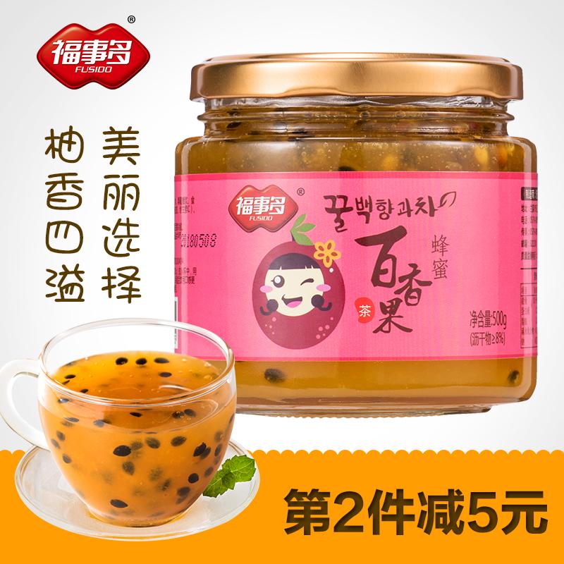 福事多蜂蜜百香果茶500g 冲饮泡水喝的饮品 速溶水果茶酱泡茶喝的