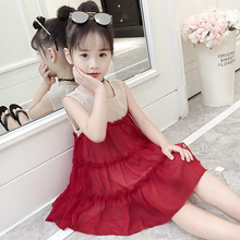 Girls Chiffon Dresses 2019 New Kids Korean Sash Princess Skirt Muffler Summer Children's Skirt