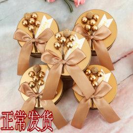 结婚礼喜糖盒子马口铁盒个性糖果盒包装盒圆形金色欧式伴手礼森系图片