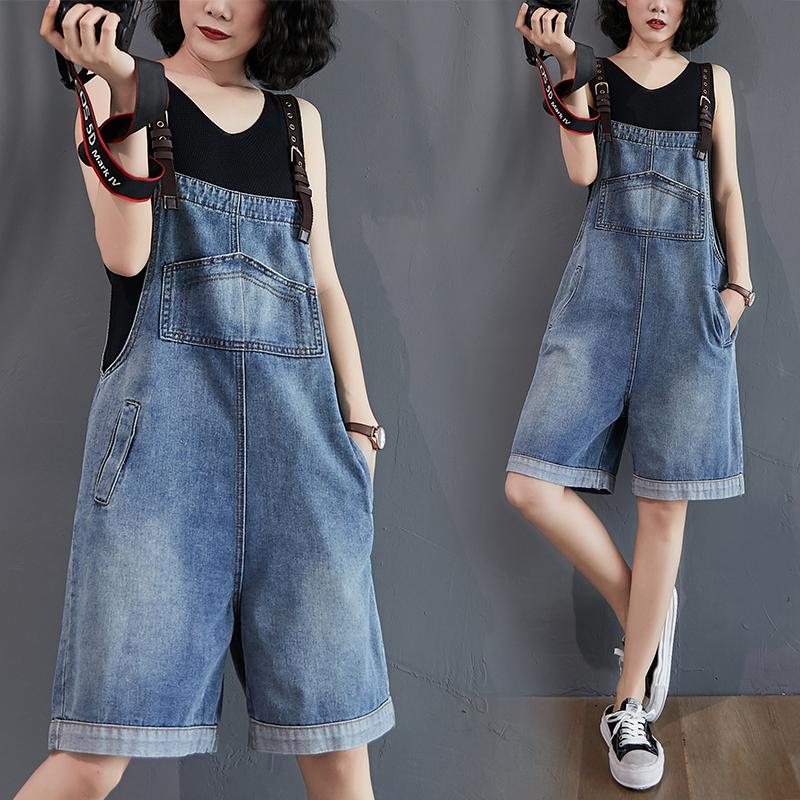 减龄牛仔背带裤女韩版2020夏季新款高腰显瘦吊带连体裤阔腿短裤潮