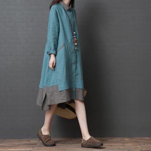 棉麻衬衫裙女2019新款秋季宽松大码显瘦文艺减龄中长款拼色连衣裙
