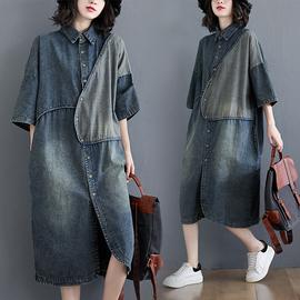 大码女装春季复古文艺不规则拼接衬衫裙中长款宽松显瘦牛仔连衣裙