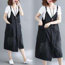 牛仔背带裙女2018新款夏季宽松大码韩版中长款显瘦学生吊带连衣裙