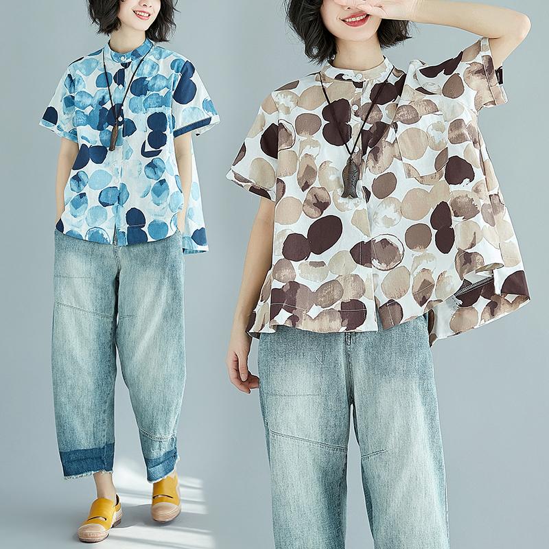 2018夏装新款复古圆点印花立领棉麻衬衫宽松女装短袖亚麻上衣显瘦
