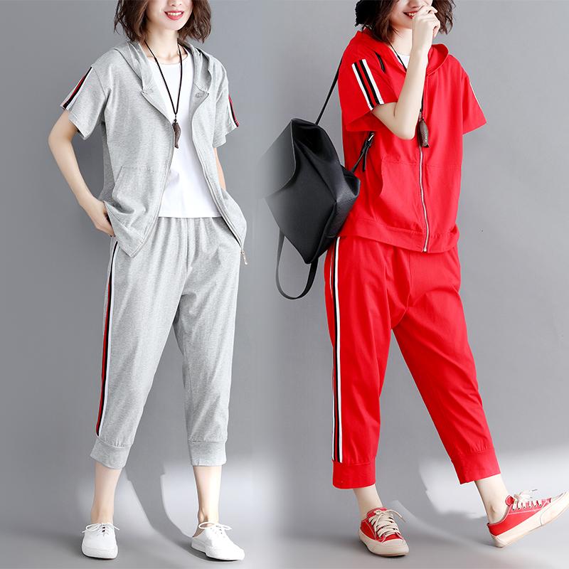大码女装胖mm最爱夏装纯棉运动服休闲套装女连帽开衫显瘦两件套潮