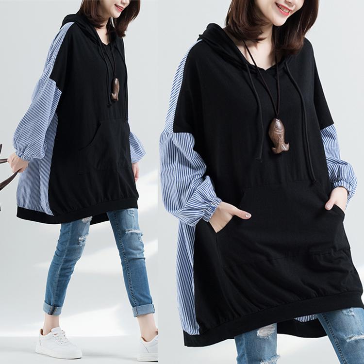 2020春装新款韩版宽松大码女装文艺针织拼接条纹连帽卫衣连衣裙潮图片