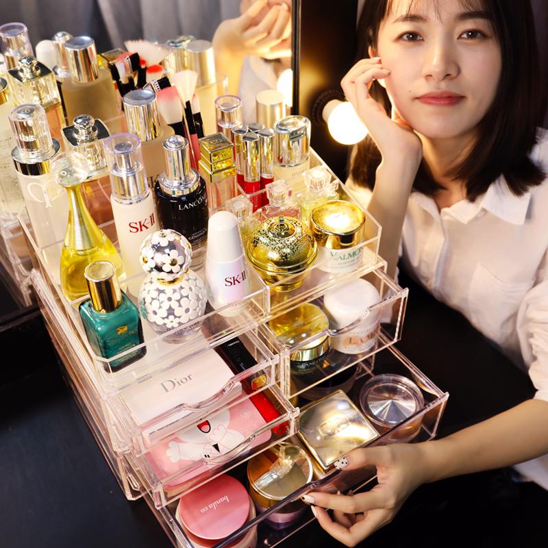 亚克力化妆品收纳盒宿舍神器大抽屉式护肤口红梳妆台桌面整理架女