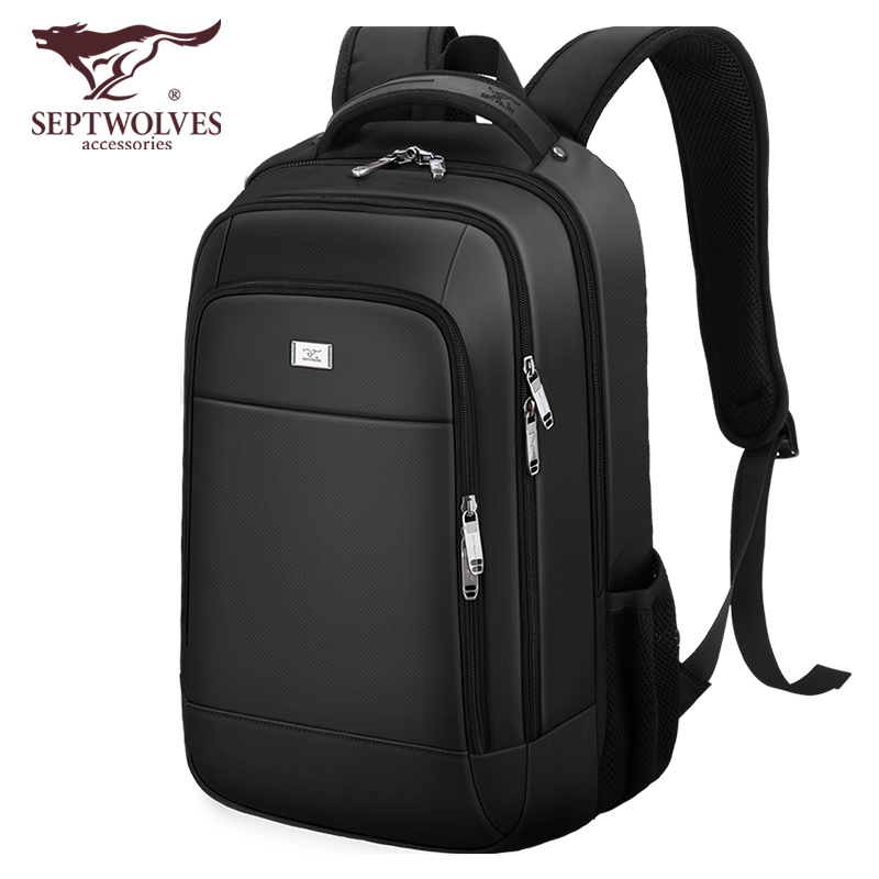 Seven wolves backpack male large-capacity backpack middle school student college student school bag travel bag computer bag business leisure