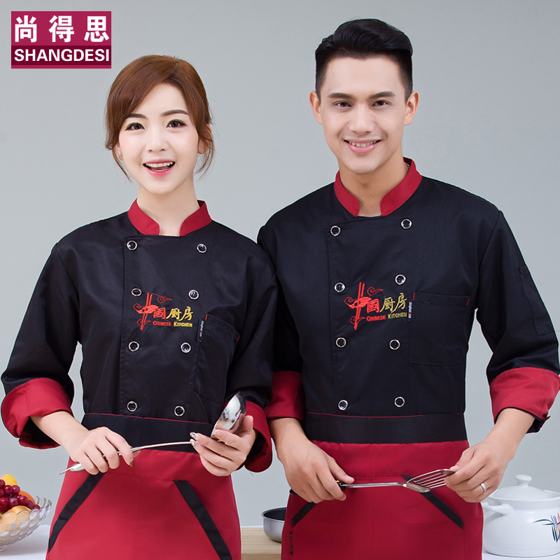 Chinese style chefs long sleeve and fattening restaurant chefs long sleeve suit for men and women in autumn and winter