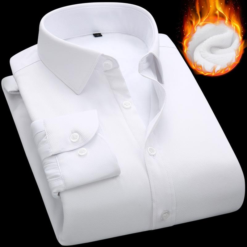 限10000张券男士修身加绒加厚纯色职业白衬衫