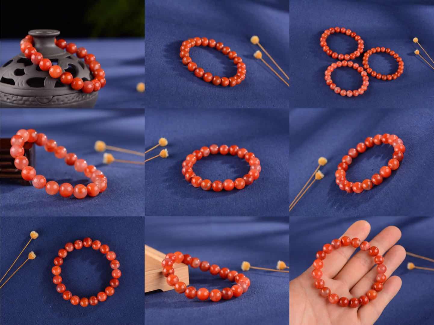 【Чи Юнь Джейд】Естественный юг Liangshan красный Агатовый браслет мужские и женские стиль Браслеты один Круглые плавающие бусы