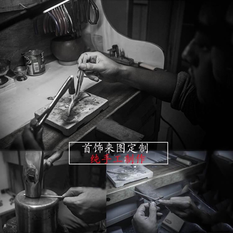来图定制情侣戒指男女原创手工对戒个性创意礼物订做加工纯银饰品