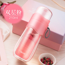 Biological Portable Tea Water Separation Tea Making Cup Sub-net Red Double Layer Glass Filter Student Girls Handy Cup Water Cup