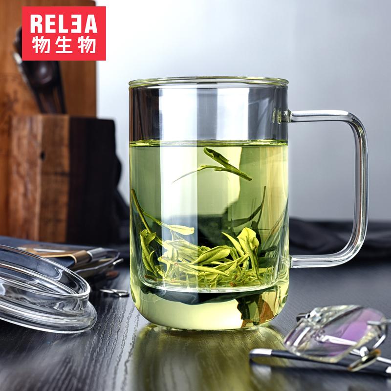 物生物君子杯 玻璃杯 帶蓋透明辦公過濾茶杯男士水杯 高端杯子