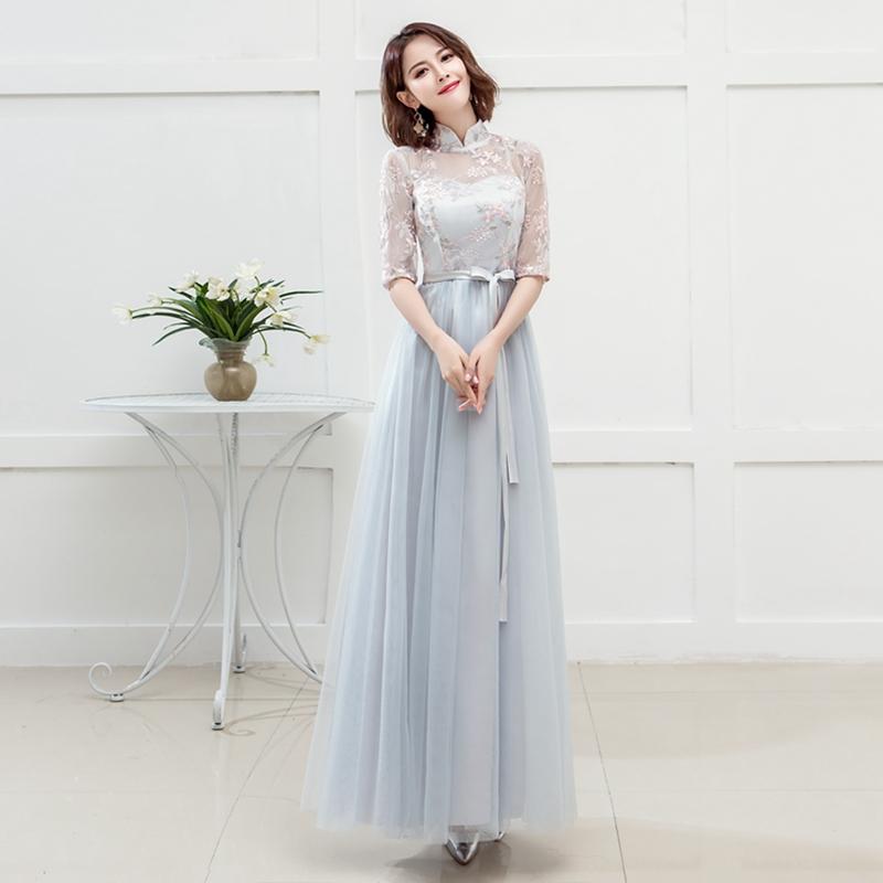 伴娘服长款2018秋季新款韩版婚礼伴娘礼服姐妹裙宴会晚礼服连衣裙