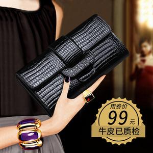 手包女手拿包2020新款时尚韩版鳄鱼纹牛皮百搭手机包气质长款钱包
