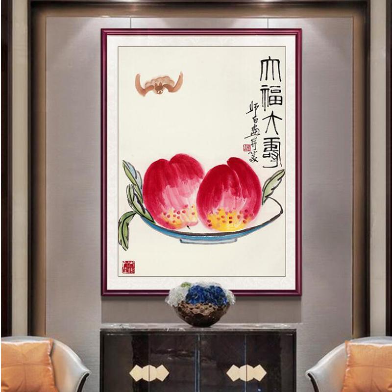新款齐白石蟠桃祝寿百寿图字画3D精准印花十字绣客厅简单新手小幅