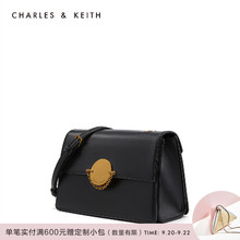 CHARLES & KEITH Square Bag CK2-80270179 Metal Button Chain Overturned Single Shoulder Slant Bag