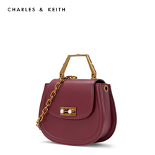CHARLES & KEITH Piggy Bag CK2-50150806 Stereo Metal Handle Decoration Lady Handbag