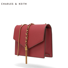 CHARLES & KEITH envelope CK2-20160030 fringed single shoulder chain small square bag