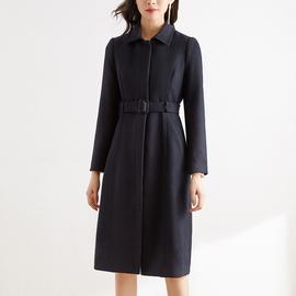 藏蓝色毛呢大衣女中长款宽松冬季加厚时尚气质职业羊毛呢子外套
