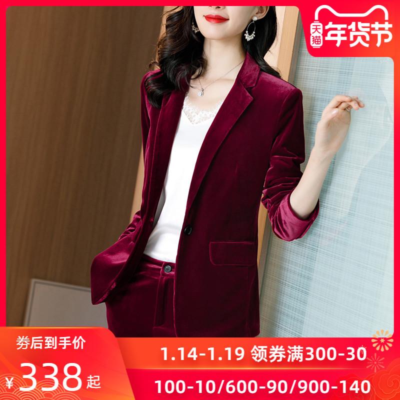 红色丝绒西装外套女秋冬高端职业装时尚气质上衣金丝绒小西服套装