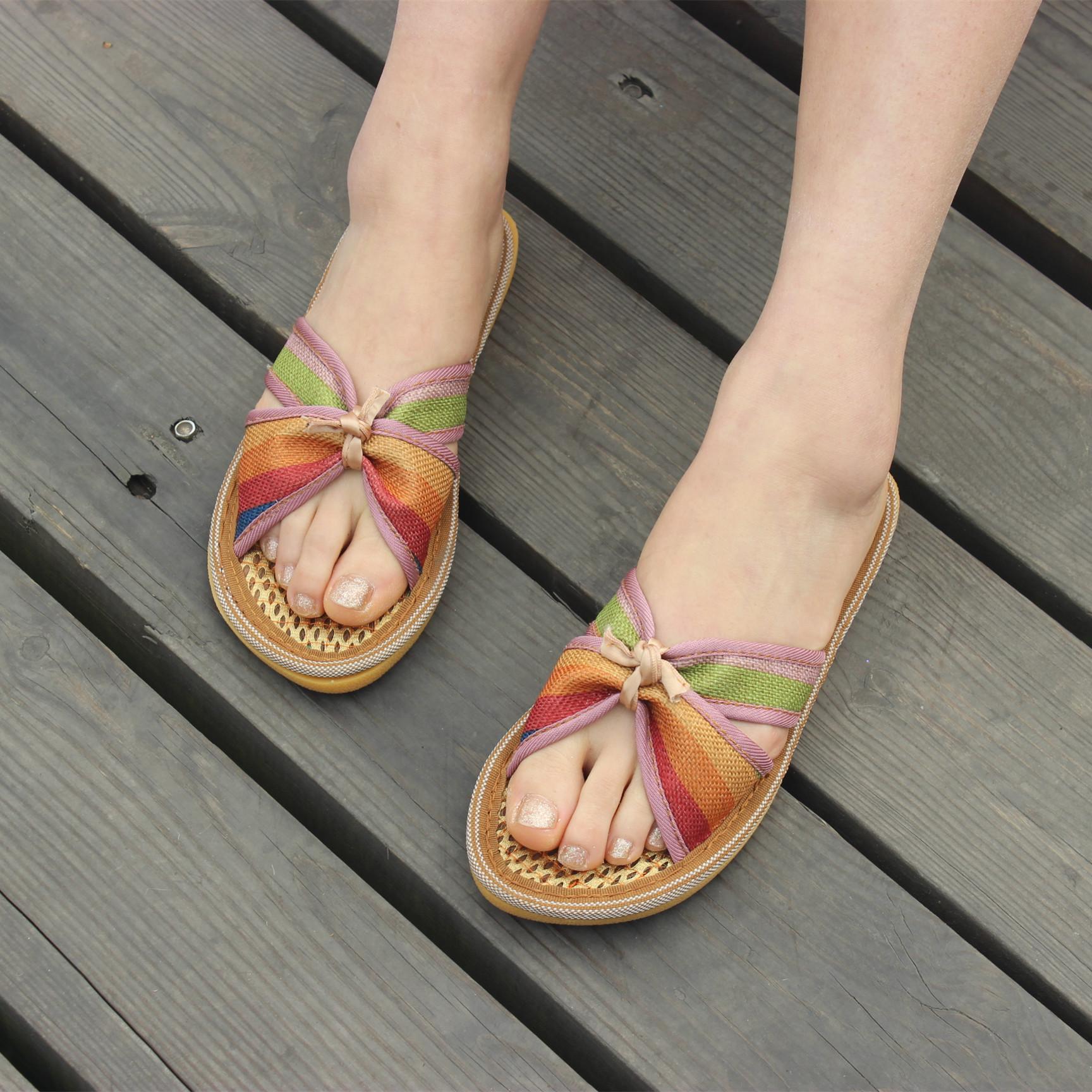 新款蝴蝶结女士平底手工棕丝鞋拖鞋女夏 透气吸汗夏季新品