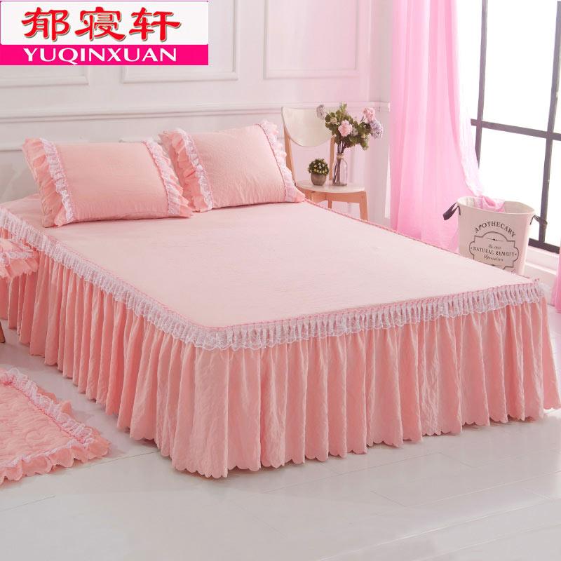 韩版床罩床裙单件公主纯色床单1.5m1.8米席梦思花边蕾丝防尘护罩