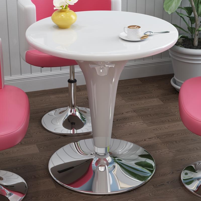 现代简约小圆桌子 简易接待创意休闲洽谈桌 咖啡餐桌椅方形升降桌