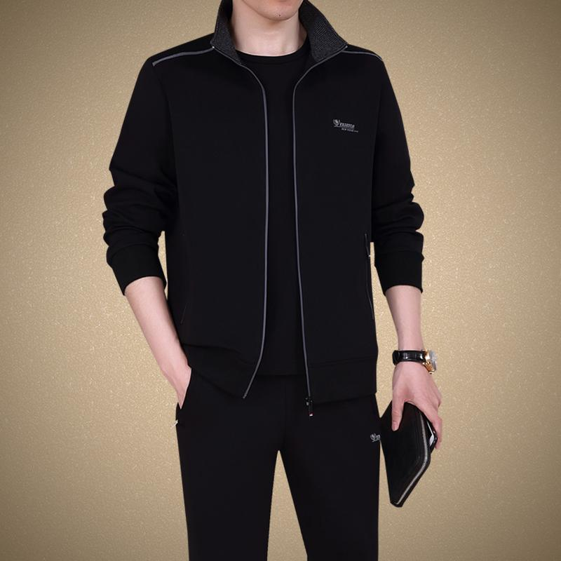 Big and small Li Ning silent fathers autumn sports suit mens spring and autumn long sleeve Lapel sports dads big size and wide