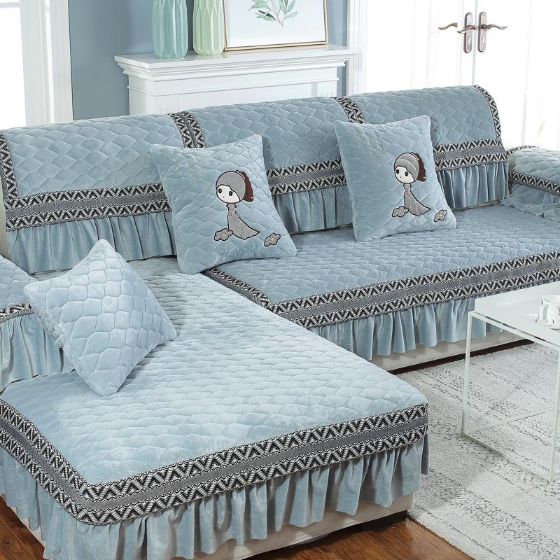 冬季毛绒沙发垫布艺四季通用简约现代防滑欧式沙发套罩巾全包全盖