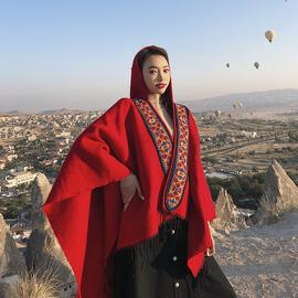 民族风连帽披风开叉斗篷披肩两用加厚红色旅游保暖围巾女冬天西藏