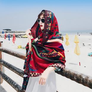 春夏季百搭披肩韩版民族风旅游丝巾海边披风沙滩巾防晒纱巾围巾女