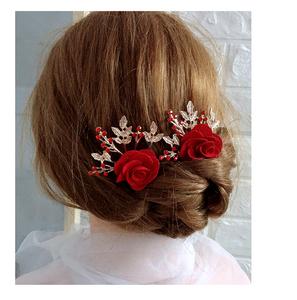 新娘结婚红色花朵头花水钻发梳发卡