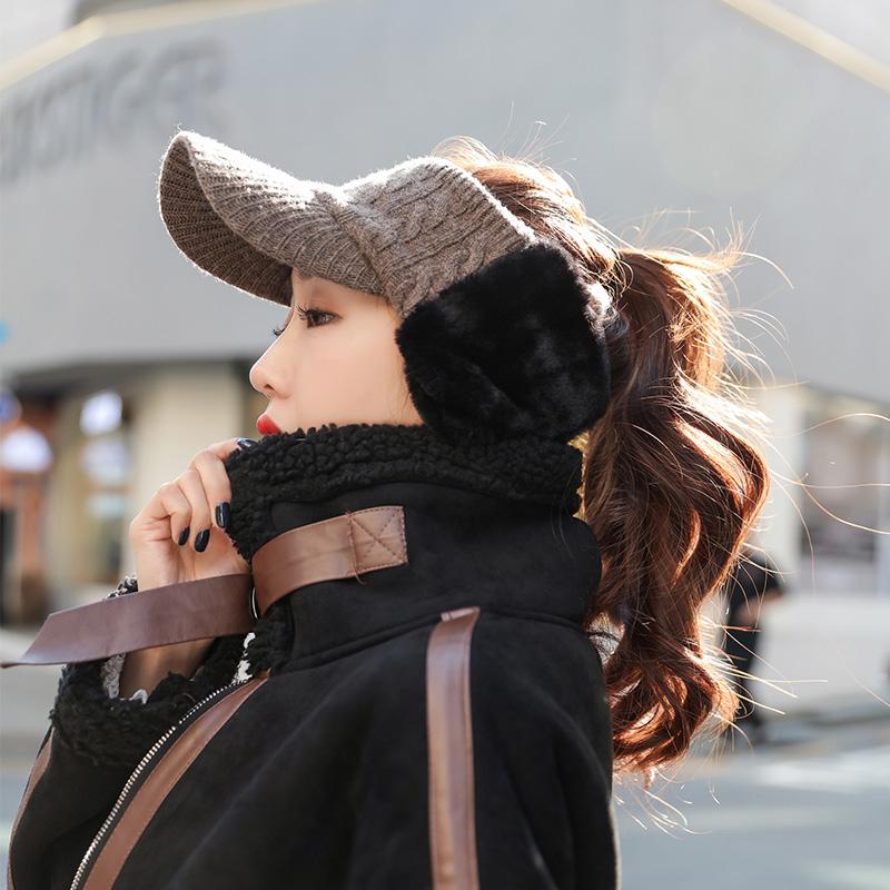 护耳毛线帽子女冬spany韩代鸭舌帽
