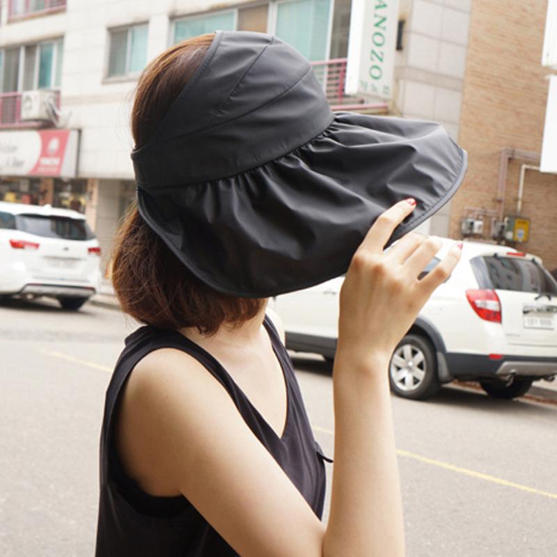 韓國帽子遮陽帽女夏防曬帽空頂帽遮臉出游涼帽折疊防紫外線太陽帽