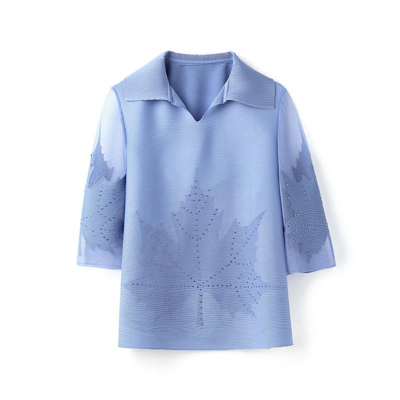 三宅褶皱女装2021夏新款衬衫领时尚妈妈减龄T恤网纱烫钻百搭上衣