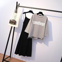 实拍2019春季大码女装胖mm显瘦吊带连衣裙+字母印花T恤两件套3362