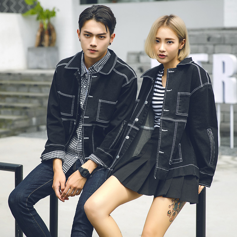 Spring and autumn new yuansuo BF style loose long sleeve couple denim jacket men and women Korean retro jacket baseball suit fashion