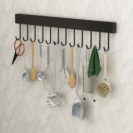 不锈钢厨房置物架壁挂式免打孔挂架挂件墙上活动排钩挂杆收纳架子