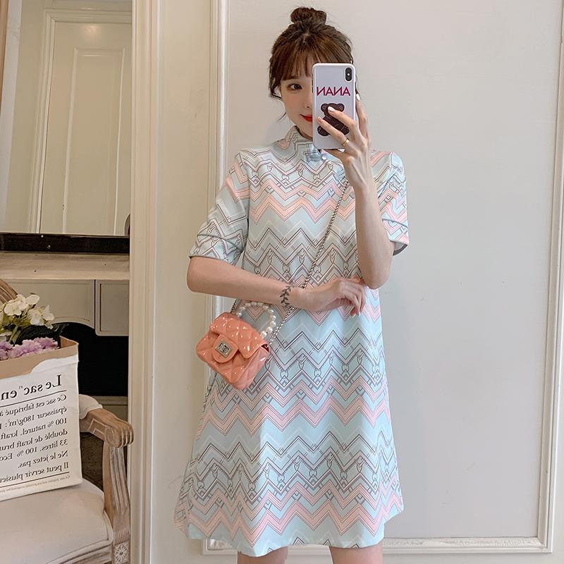现货实拍胖MM宽松大码连衣裙2021夏季新款时尚现代改良新式旗袍