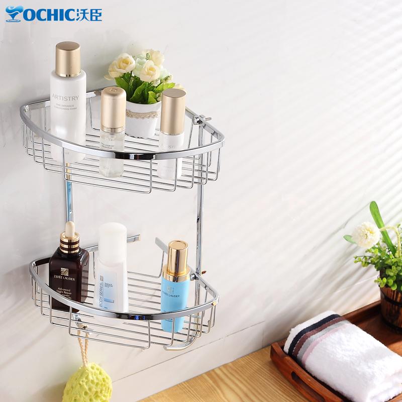 沃臣卫浴 不锈钢三角篮 双层置物架置物篮 浴室转角架 卫生间网篮