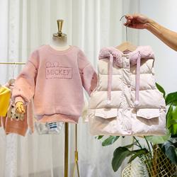 童装女童冬装加绒卫衣韩版洋气加厚儿童棉袄马甲二件套装2021新款