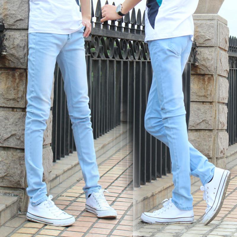 春季新款韩版潮男棉弹浅色小脚牛仔裤修身男款天蓝色男士铅笔裤子