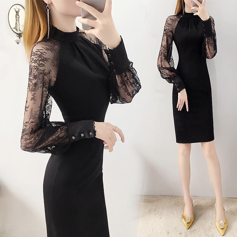 黑色连衣裙2021春装新款修身显瘦包臀赫本风秋冬季打底裙子女气质