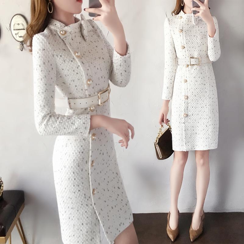 法式维多利亚复古裙秋冬新款气质宫廷收腰显瘦加厚毛呢连衣裙子女