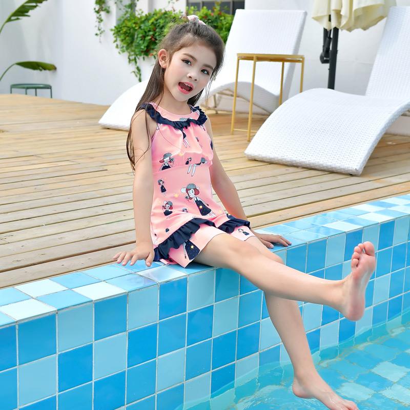 女童游泳衣可爱儿童泳衣女分体游戏玩水中大童泳衣女分体童 泳装