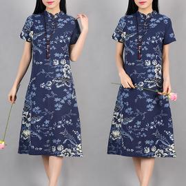 夏装新款宽松大码中长裙子复古民族风女装棉麻显瘦旗袍短袖连衣裙